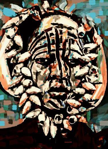 "Saatchi Art Artist ACQUA LUNA; Painting, ""95- Primer plano. Tribu Mursi."" #art"