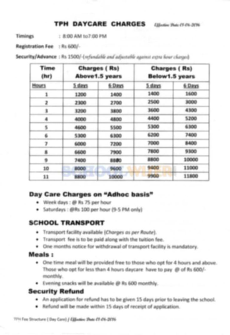 The Play House (TPH) Gurgaon fee of daycare. Check out the fee structure of The Play House Sector 49 at SchoolWiser.