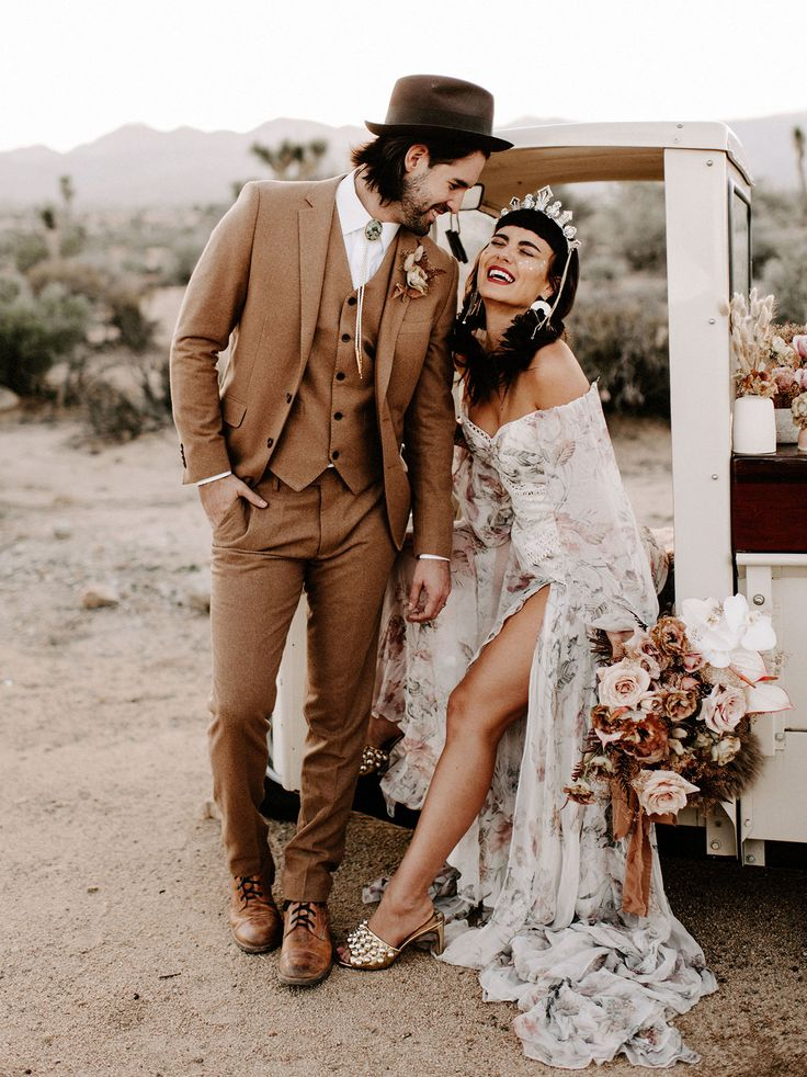 Wild Ones Wedding Inspiration. Rue de Seine boho wedding dress. Dried palm flora…