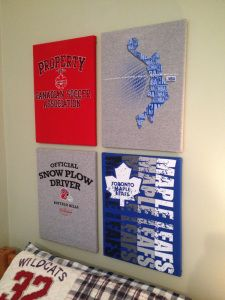Sports team shirts from the thrift store glued on to canvases for little boy's room!! www.hystericallyeverafter.com
