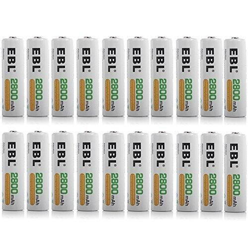 EBL AA Batteries 2800mAh Ni-MH Rechargeable Battery 20 Counts