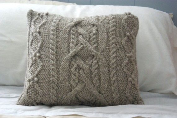 Cable Knit Pillow Sham in Wool, Sweater Pillow, Throw