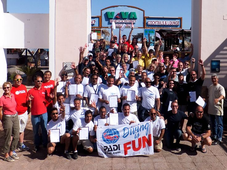 40 new SCUBA instructors celebrating at Red Seas best training facility!