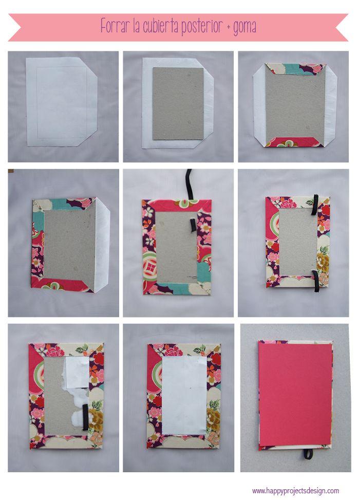 Cuaderno artesanal personalizado. Cubiertas forradas con tela y cosido copto.