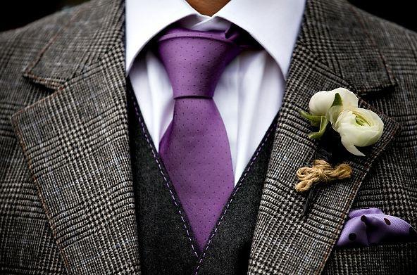 Tweed wedding suit, minus the purple. Maybe gray?