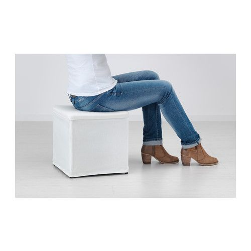 BOSNÄS Footstool with storage IKEA The cover is easy to keep clean as it is removable and can be machine washed. Works as an extra seat or footstool.