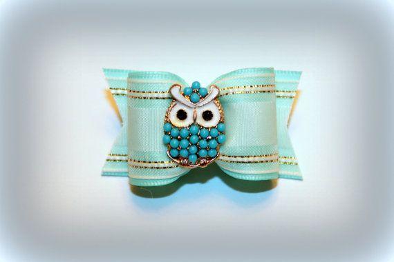 7/8 OOAK  Turquoise Owl Dog Hair Bow  by DawgGoneShopping on Etsy