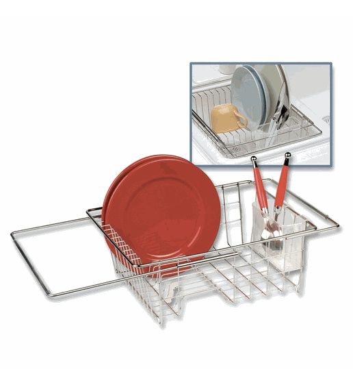 Adjustable Over The Sink Dish Drainer   Stainless Steel