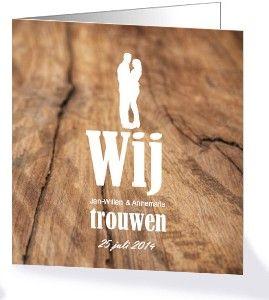 Houten trouwkaart uit de collectie Natuur trouwkaarten van Kaartopmaat.nl.