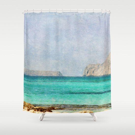 Art Shower Curtain At Sea 4 landscape photography Bathroom restroom home decor photo Mediterranean texture aqua sky blue nautical mountain