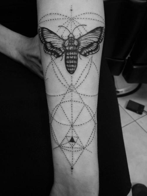 arm tattoo by mico goldobin. death head moth. gothic. dark beauty.