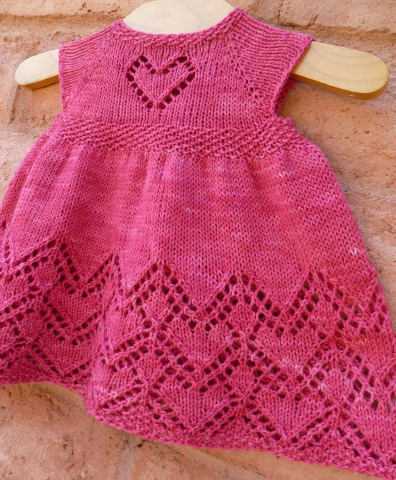 """You are bidding on Helen Joyce Baby Dress PDF pattern in English and Italian Yarn- Mary Gavan yarns Desert in Cherry Needle- 4 us (3.50 mm) or what you need to get gauge Gauge- 24.0 sts = 4 inches Yardage- 350 to 900 yards Sizes- 0-3 months(6 months, 12 months, 18 months, 2T, 3T,4T) Chest measurements- 18""""(20"""", 22"""", 23"""", 23 ½"""",23 ¾"""",24"""") You cannot go wrong with a vintage lace dress with hearts for your little girl. Top down construction, with a sweet little heart on the bust, a ri..."""