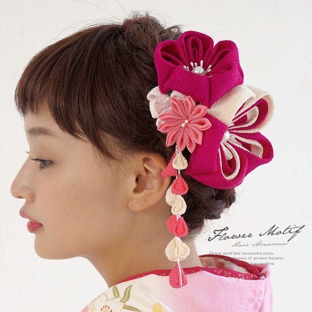 成人式におすすめなつまみ細工髪飾り2点セット