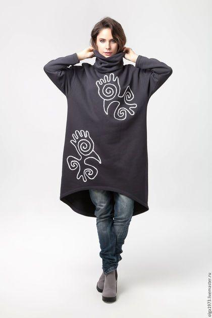 """Верхняя одежда ручной работы. Ярмарка Мастеров - ручная работа. Купить Туника / Платье теплое """"Птицы"""". Handmade. пальто"""