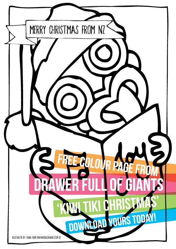 Check it out! Free Kiwi Tiki Colouring Page from drawerfullofgiants.com