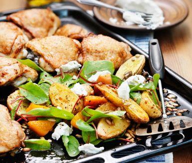Recept: Ugnsstekt kyckling med gulbetor och getost