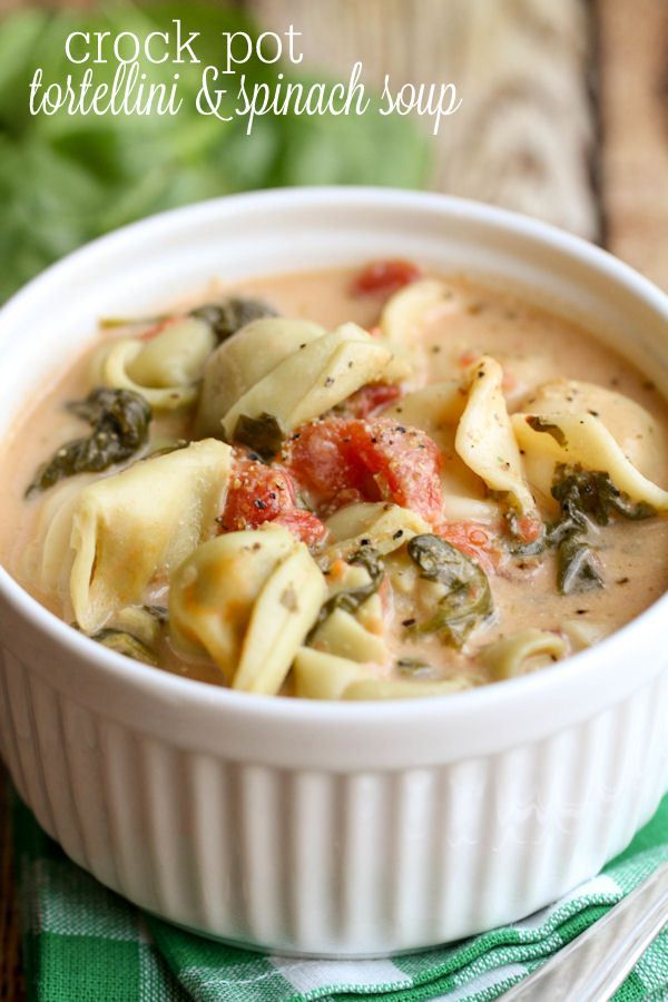 Crock Pot Tortellini and Spinach Soup - little prep time and an amazing result! { lilluna.com }