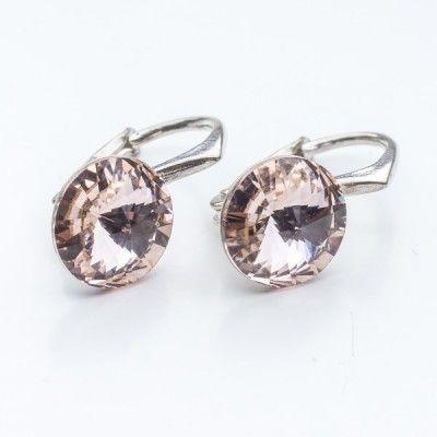 Swarovski Rivoli Earrings 8mm Light Silk  Dimensions: length: 1,7cm stone size: 8mm Weight ~ 1,85g ( 1 pair ) Metal : sterling silver ( AG-925) Stones: Swarovski Elements 1122 SS39 Colour: Light Silk 1 package = 1 pair