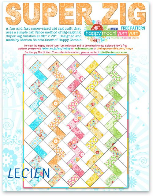 free pattern by happy zombie. I'm going to try this as it would be even easier than the half square triangle method for chevrons