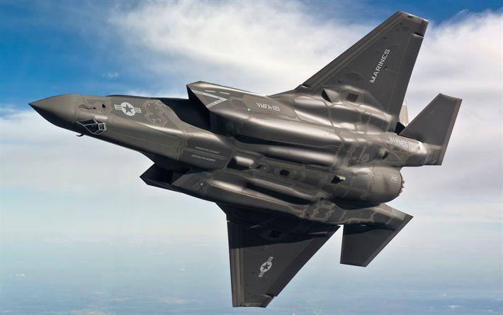 Download wallpapers Lockheed Martin F-35 Lightning II, British Air Force, F-35B, American fighter, F-35, Lockheed Martin