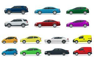 Flat high quality city transport car icon set. Sedan van cargo truck off-road. Urban public and... illustrations to enhance webpages posters cards and documents. These illustration sets include watercolor hand-drawn and vector sets to use in projects for the web and print.