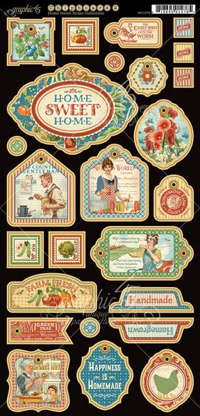Graphic 45 - Home Sweet Home Collection - Die Cut Chipboard Tags - One
