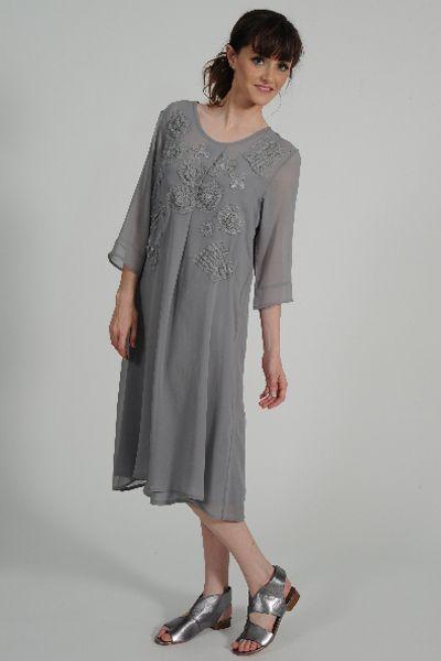 Daisee silk georgette dress, Femme silk slip, Petrol pewter leather sandal