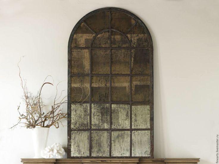 Купить Состаренное зеркало в стиле loft ручной работы - черный, зеркало, состаренное зеркало