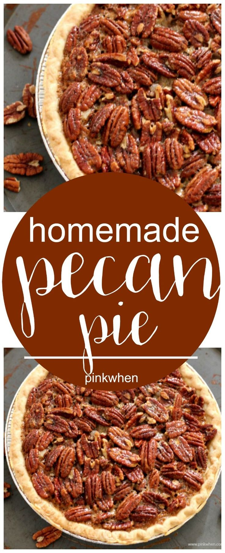 Homemade Pecan Pie Recipe - a perfect Thanksgiving dessert or Chrismtas dessert idea | Pinkwhen