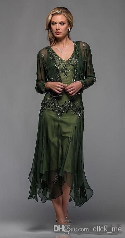 Exquisite V Neck With Jacket Long Sleeve A Line Mid Calf Mother Of The Bride Dress Beading Appliques Chiffon Mother Of The Bride Dresses Mother Of The Bride Dress With Jacket Mother Of The Bride Dresses Beach Wedding From Click_me, $118.87| Dhgate.Com