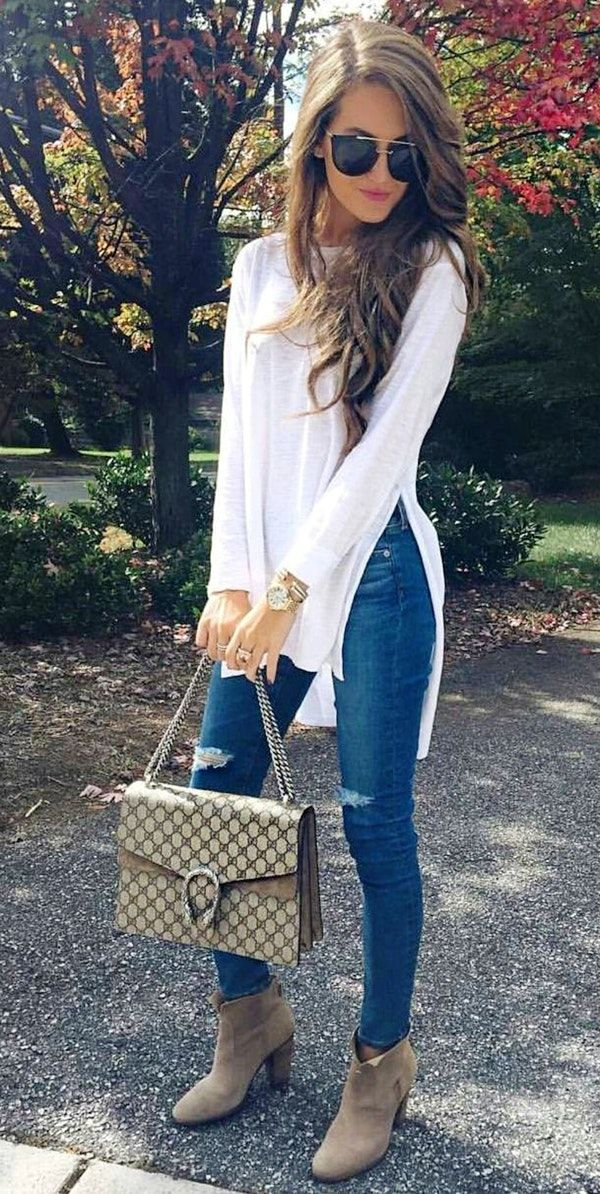 #fall #outfits ·  White Shiffon Top   Ripped Jeans   Suede Ankle Boots