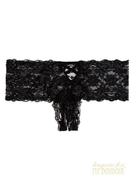 CROTCHLESS LACE BOYSHORT   BLACK from Lingerie For My Boudoir #OhLaLaCheri