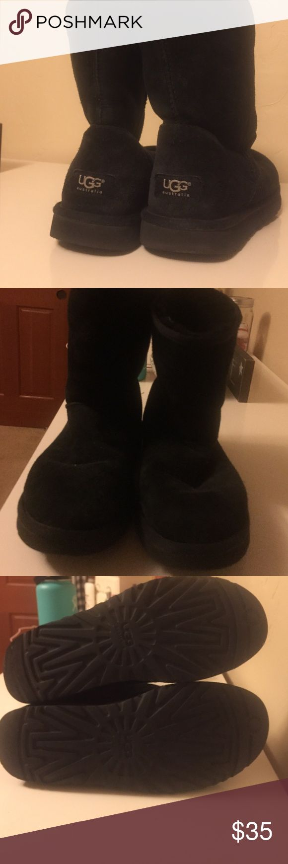 Short Black Ugg Boots Lightly used Black Uggs! No sign of wear and tear, super cute and comfy! UGG Shoes Winter & Rain Boots