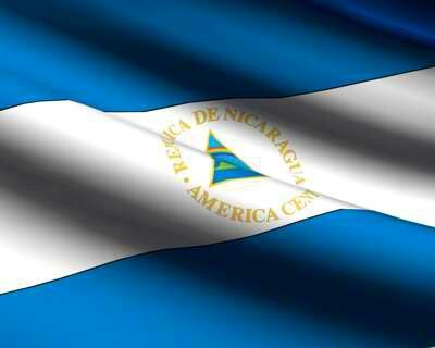 Nicaragua flag, the Two Blue stripes represent the Pacific Ocean and Caribbean Sea, the white stripe means Peace.