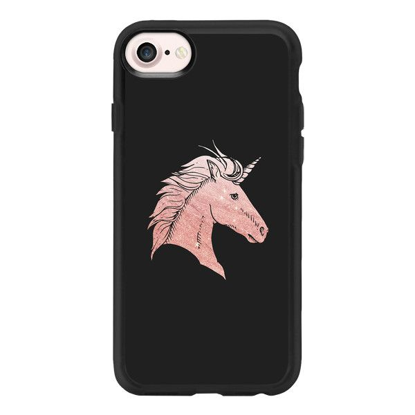 Elegant faux rose gold black fantasy mystical unicorn - iPhone 7 Case... ($40) ❤ liked on Polyvore featuring accessories, tech accessories, iphone case, iphone cases, apple iphone case, iphone cover case and clear iphone case