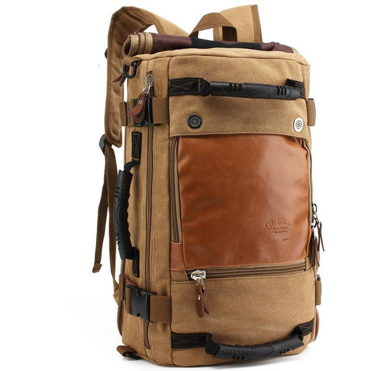 Men Canvas Leather Backpack Large Capacity Travel Bags