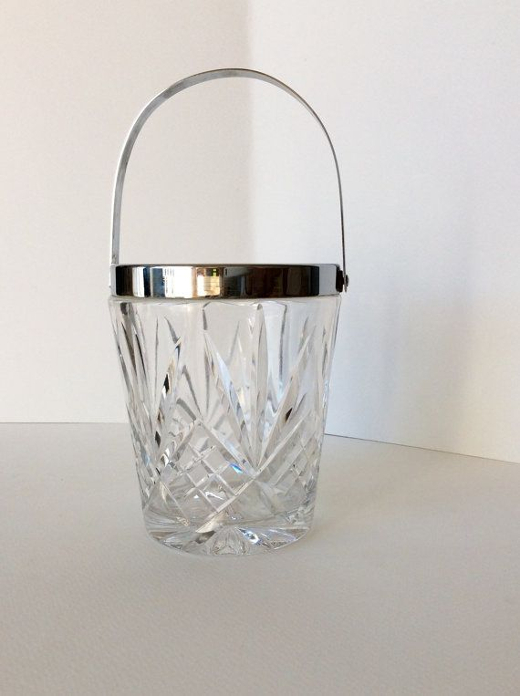 Crystal Ice Bucket. Barware. Cut Crystal. by SouthofFranceFinds