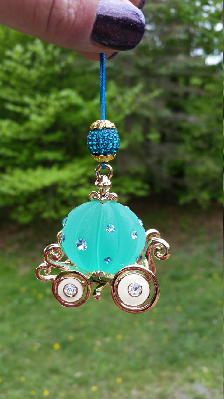 Car Accessories Rear View Mirror 3D Cinderella Carriage Charm decorated with Swarovski Crystals elements. by tipatmazal on Etsy