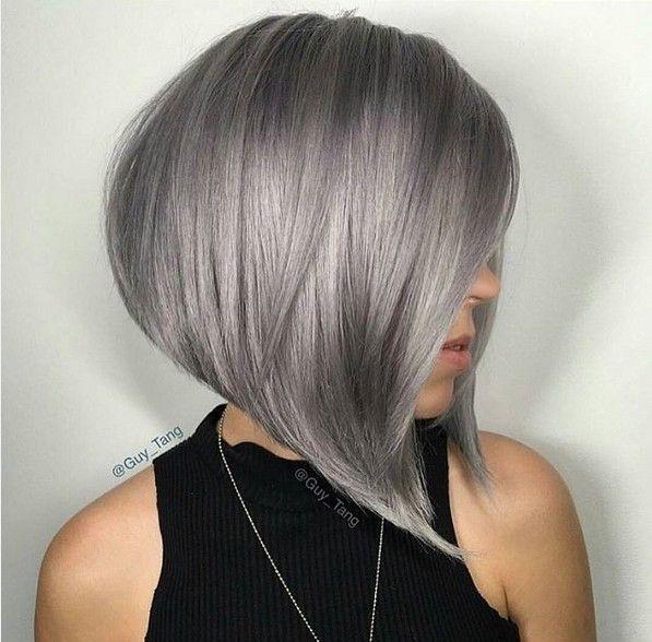 Angled A-line Bob with Grey Hair Color