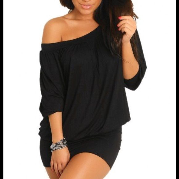 Sexy little black dress Black off shoulder dress features a slightly gathered rounded neck and 3/4 sleeves. It can we worn as a sexy club dress, accessorize to the max as a sexy birthday dress or dress down for a casual look. Fitted snug bottom with draped top. Comfortable runs large. Never worn but no tags. Dresses Mini