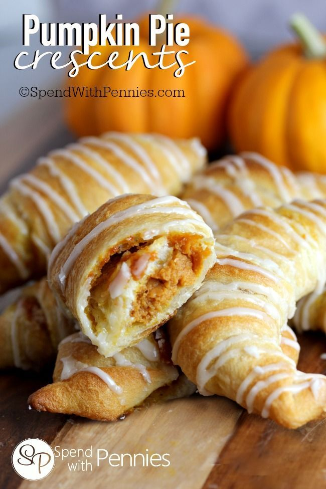 Pumpkin Pie Crescents! These are delicious and easy! A quick filling is wrapped in flaky crescent dough and drizzled with glaze!