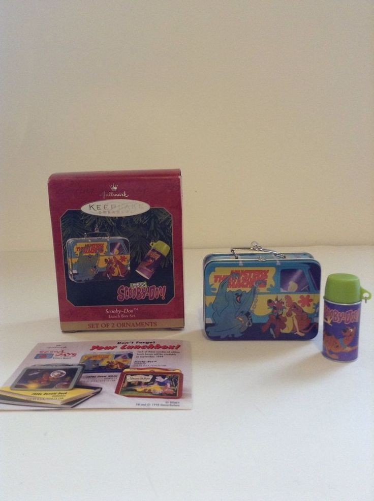 New Hallmark Keepsake Set Of 2 Scooby Doo Lunch Box & Thermos Christmas Ornament