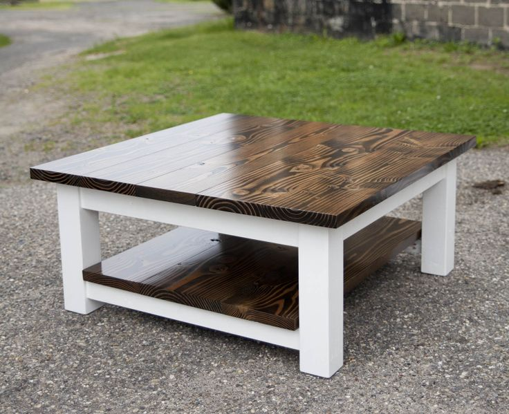 Large Coffee table with shelf. Solid wood farmhouse table by Emmor Works.