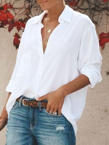 White Plain V-Neck Mid-Length Long Sleeve Blouse