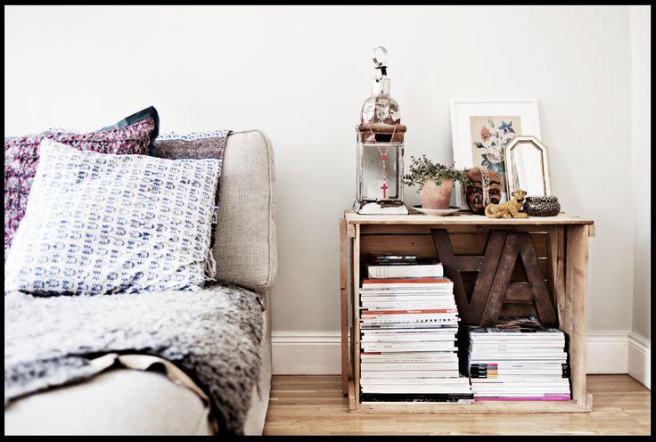 floor bed + plywood nightstand = yesss.