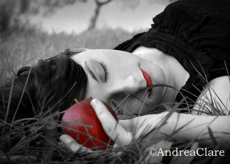 Portrait Snow White Red Apple 5x7 Fine Art Photograph. $12.00, via Etsy.