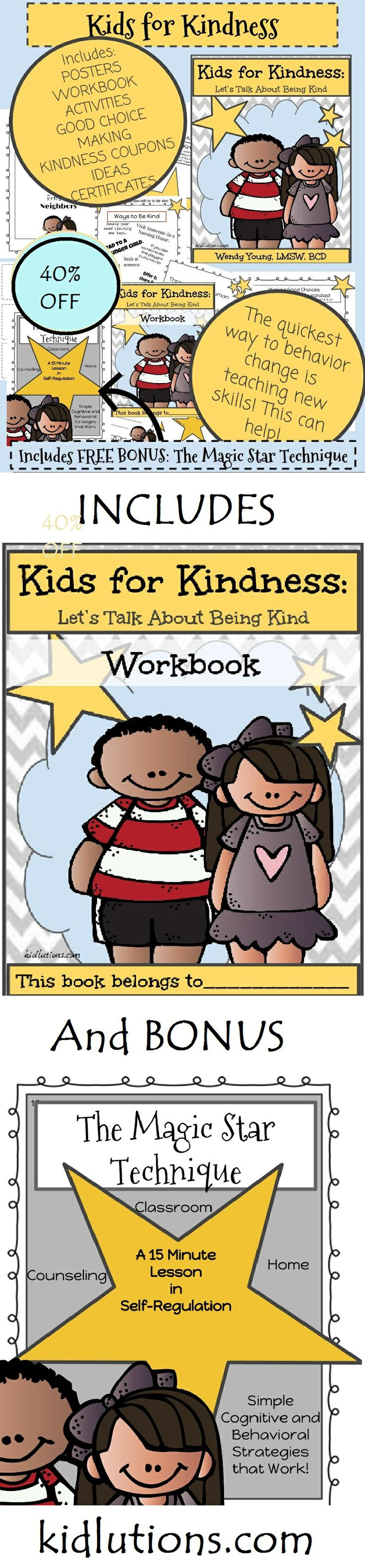 Kind is a verb. Yes, we can have kind thoughts, but until we put them into action, they benefit only us. Teach kids to be kind. 40% off now from Kidlutions. Find it HERE: http://www.kidlutions.com/kidsforkindness.html