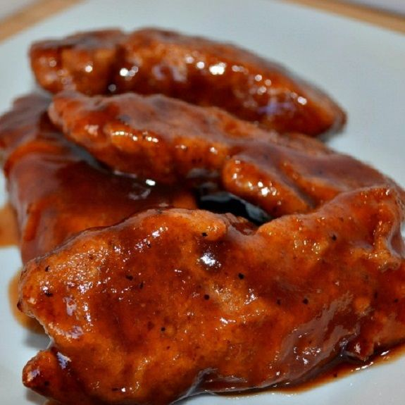 Slow cooker honey barbecue chicken tenders. Chicken breast tenderloins with barbecue sauce,mustard,honey and Worcestershire sauce cooked in slow cooker.Sweet&delicious!