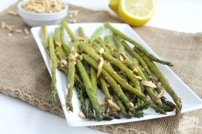 {Healthy Valentine's Day Dinner} Lemon Ginger Asparagus with Toasted Almonds - The Healthy Maven