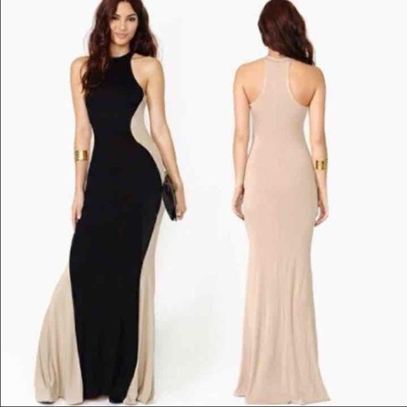 Sexy Black & Tan Hourglass Maxi Dress Sexy hourglass maxi dress.  Slinky, stretchy material that hugs your curves.  Dress it up with a sparkly statement necklace, or dress it down with a set of bangles.  One size fits small-medium best.  New without tags but in original packaging.    Brand:  NO BRAND Dresses Maxi